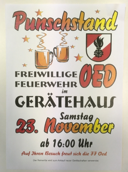 plakat punschstand ff oed 2019